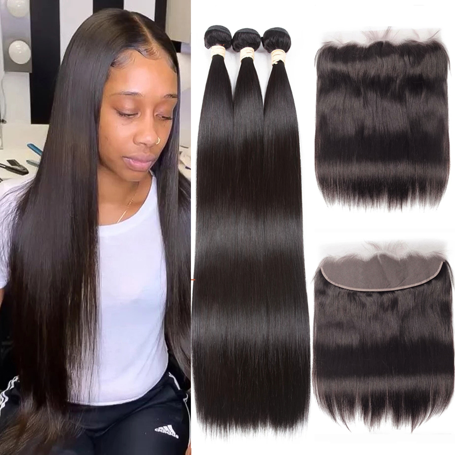 Straight Transparent Lace Frontal with Bundles 36inch long Body Wave Bundles With Frontal BEAUDIVA Brazilian Hair Weave Bundles