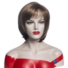 Женские короткие синтетические парики с эффектом омбре, коричневые светлые парики с челкой для женщин, прическа bobo, парики из натуральных в...
