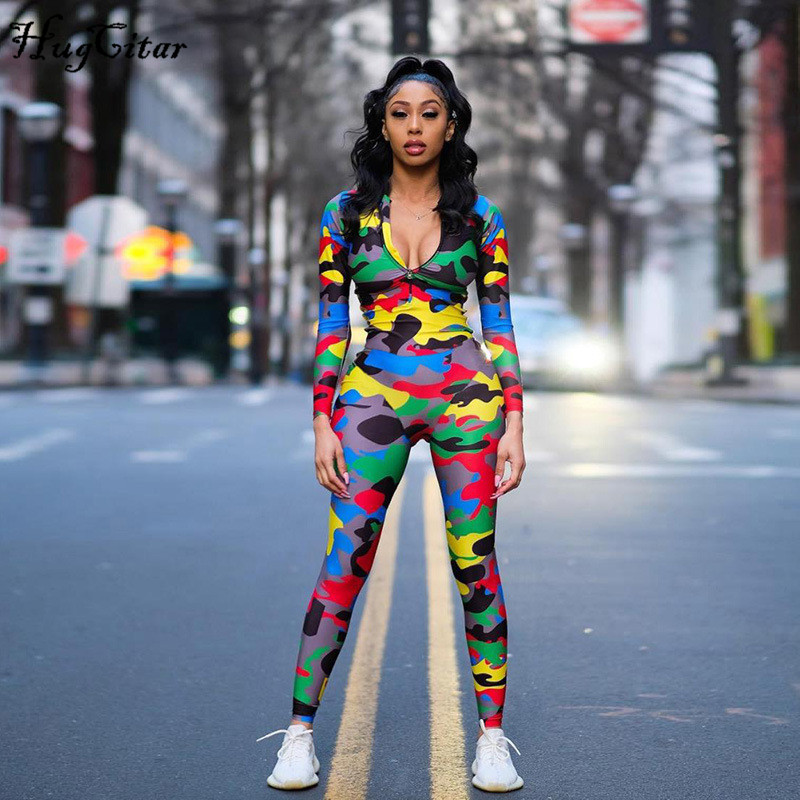 Clearance Sale™Hugcitar Sexy Jumpsuit Bodycon Camouflage-Print Women Outfits Streetwear Long-Sleeve