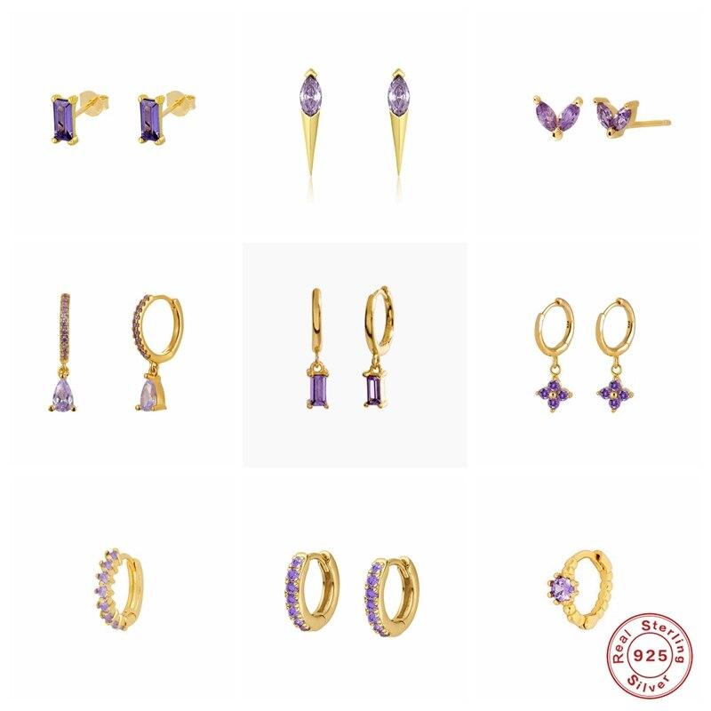 S925 Sterling Silver Stud Earring Korean Romantic Purple Zircon Earring For Valentine's Day Crystal Jewerly Piercing Pendientes|Stud Earrings| - AliExpress