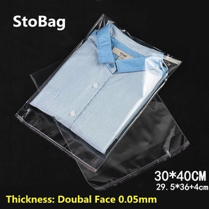 StoBag 100pcs 30*40cm Transparent Self Adhesive Plastic OPP Resealable Poly Cellophane Clothing Bags Clear Packing Gift Bag