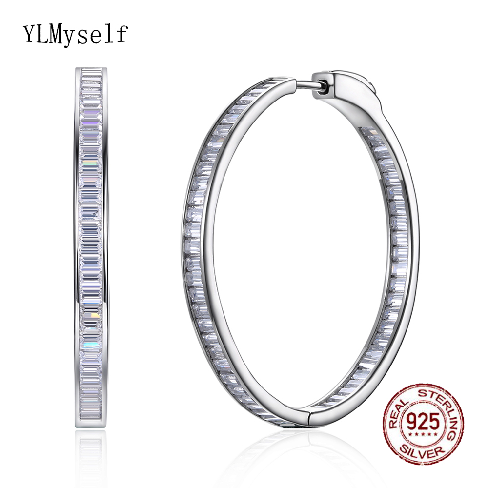 Luxury 38mm diameter Real silver hoop earring T square CZ jewelry 925 Sterling silver large circle earrings for night bar party