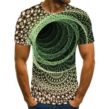 Three-dimensional tunnel 3D printing T-shirt round neck design T-shirt street style stripe pattern round neck stitching design t shirt in black
