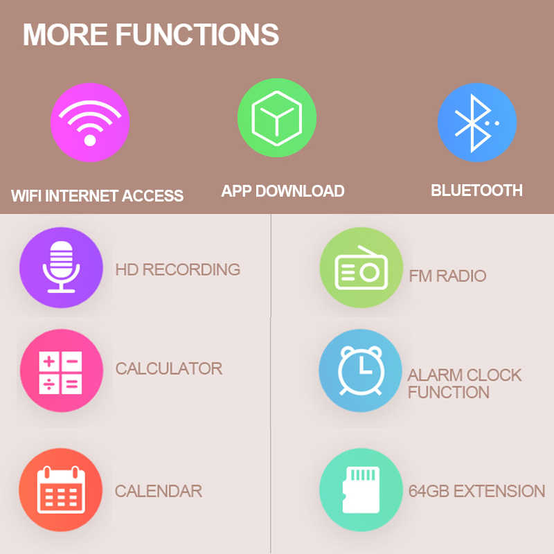 WIFI Thông Minh MP4 Bluetooth MP4 Di Động Android 8.0 MP5 Màn Hình Cảm Ứng 5 Inch Nhạc HD Video Cho Youtube Tiktok Ứng Dụng tải Về