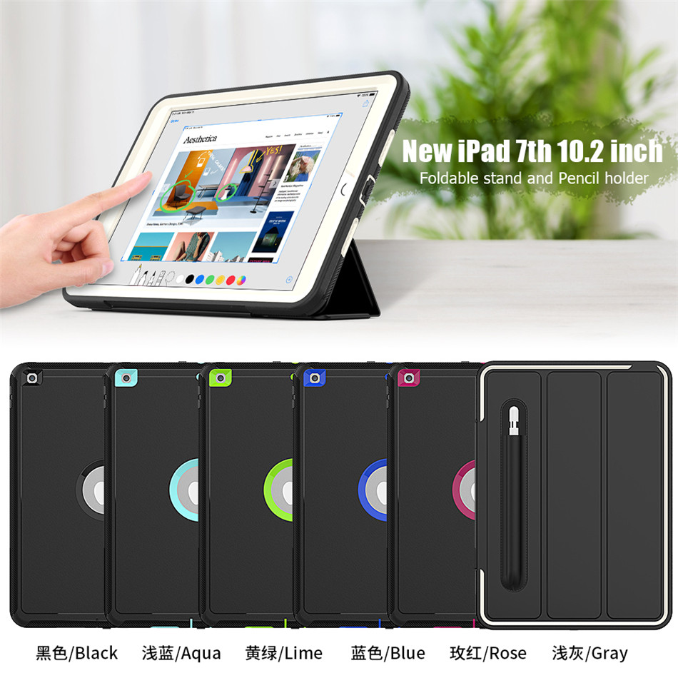 Image 2 - Case for New iPad 7th generation Smart Cover Funda Pencil cover for iPad 10.2 2019 Release Heavy Duty Full Body Skin Stand shellTablets & e-Books Case   -