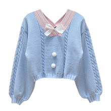 Korean Style White Knitted Sweater Women Sweet V Neck with Bow Vintage Pullover Femme Long Sleeve Knitwear Crop Top Pink Jumper