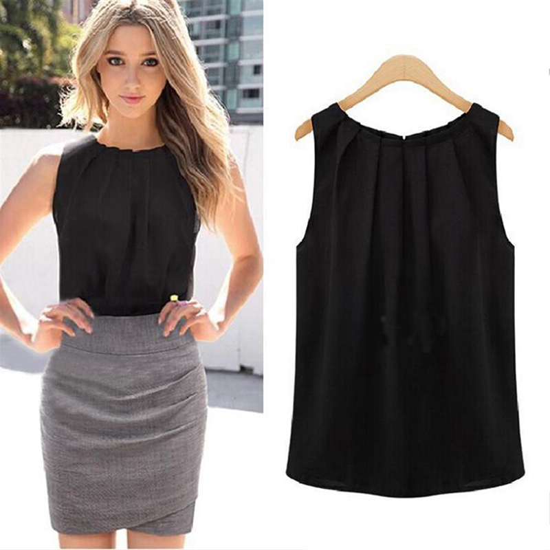 womens tops and blouses white black women's blouses Sleeveless black shirt blouses women 2018 summer hot dropship office women