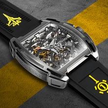 Ciga Ontwerp Vliegdekschip Automatische Mechanische Horloge Ip Titanium Coating Case Sapphire Crystal Siliconen Band Horloge