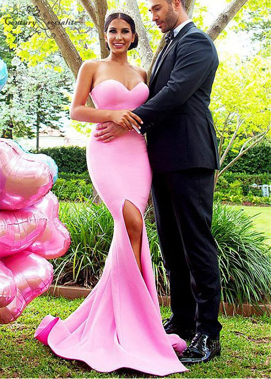 Simple Mermaid   Bridesmaid     Dresses   Long 2019 Sweetheart Side Split Maid Of Honor Gowns Prom   Dress   Wedding Guest Gowns Cheap