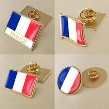 Brasão de armas de frança república francesa mapa bandeira nacional emblema flor nacional broche emblemas lapela pinos