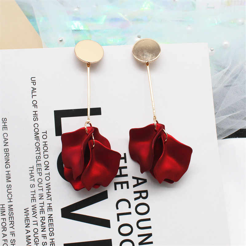 2019 New Design Korea Hot Jewelry Elegant Red Rose Petal Earrings Gold Metal Copper Long Wedding Party Earrings for women gift
