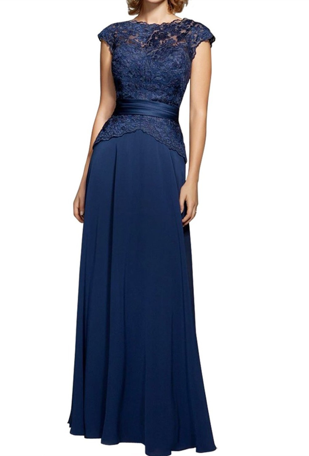 2015 New Style Dress For Mother Of The Bride Navy Blue Chiffon Women Evening Long Dress Lace Bodice