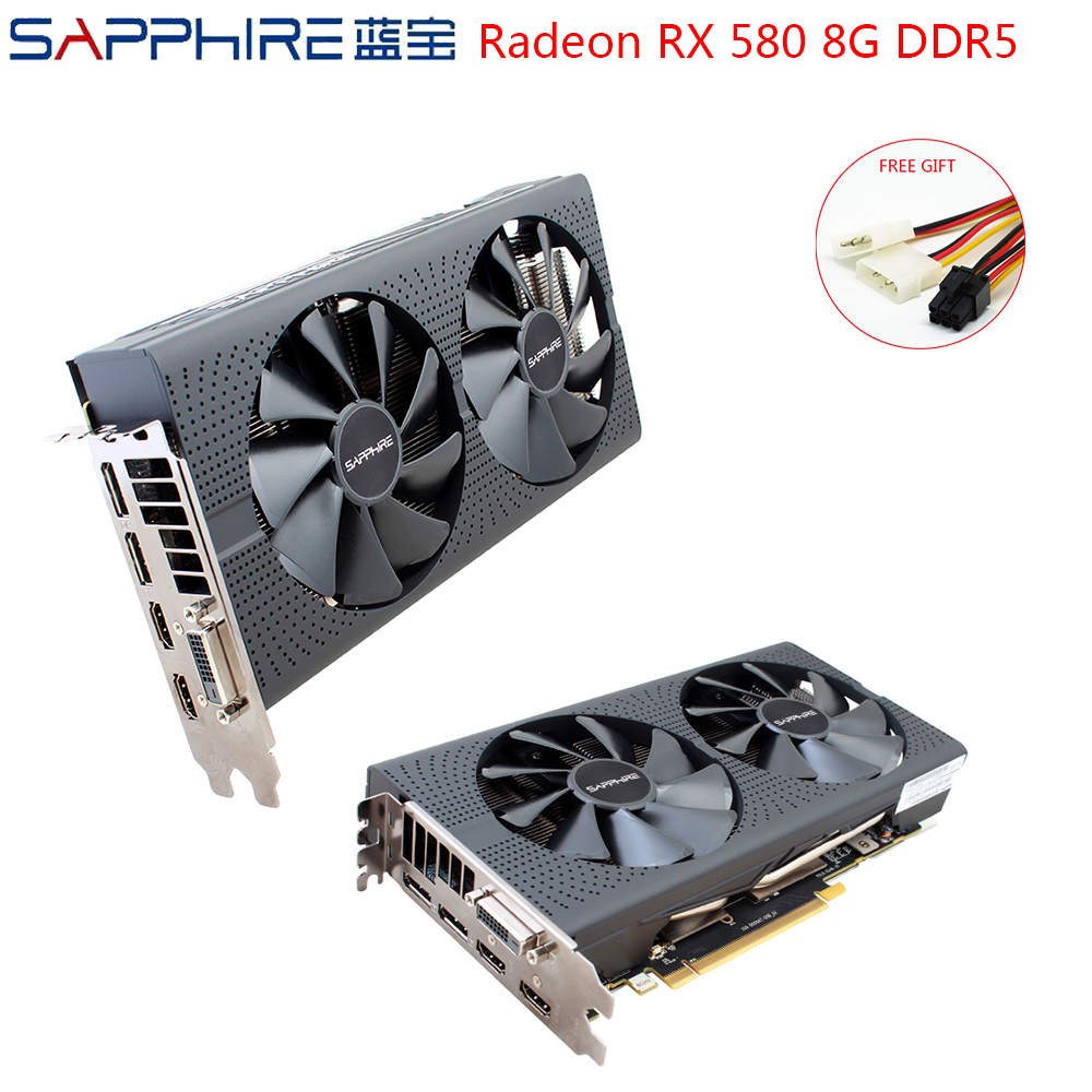 SAPPHIRE AMD Radeon RX580 8GB GDDR5 Graphic Card PC Gaming Video Cards <font><b>RX</b></font> <font><b>580</b></font> 256bit 8GB GDDR5 For Gaming Computer Used RX580 image
