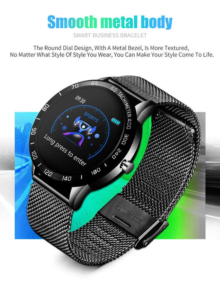 LIGE 2019 yeni akıllı saat erkekler OLED renkli ekran kalp hızı kan basıncı çok fonksiyonlu modu spor smartwatch spor izci