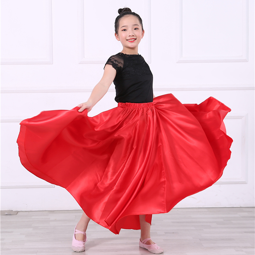 Oriental Chinese Folk Dance Skirt For Teenager Girls Children India Belly Dance Costumes Solid Color Satin Silk Flamenco Skirt