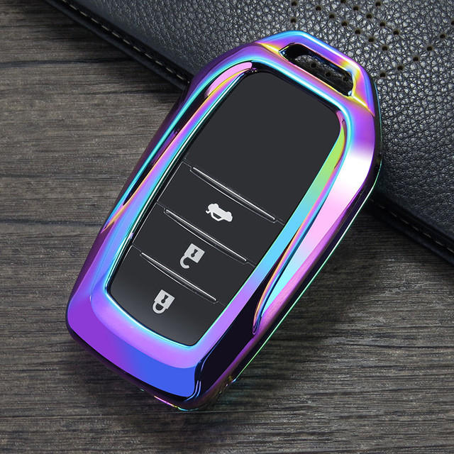 TPU Key Fob Cover Case Remote Holder Skin Protector for Toyota Camry Highlander Rav4 Avalon Corolla Crown Land Cruiser Prado Silver
