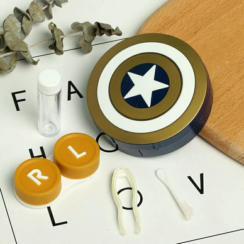 Hot Captain America Contact Lens Case With Mirror Contact Lenses Box Container For Lenses Birthday Gift For Girls and Boys 3