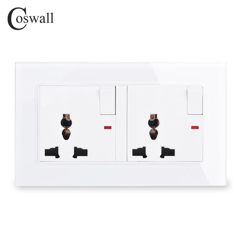 COSWALL Tempered Glass Panel 2 Gang 13A Universal Switched Socket With Neon Indicator Grounded With Children Protective Door