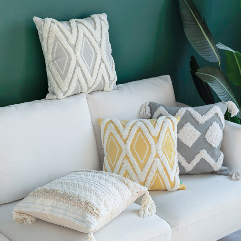 Cotton Woven Cushion Cover Iovry Tassels Pillow Cover Morroccan Style Tuft For Home Decoration Sofa Bed 45x45cm/30x50cm/50x50cm