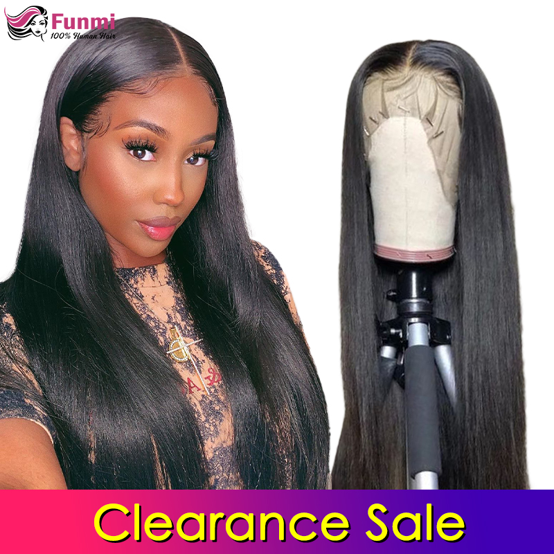 Clearance Sale Lace Front Human Hair Wigs Straight Pre Plucked Hairline Baby Hair Brazlian Remy Human Hair Lace Closure Wigs