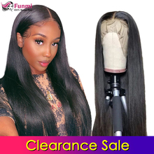 Clearance Sale Lace Front Human Hair Wigs Straight Pre Pluck