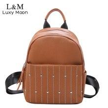Кожаный женский рюкзак, женская школьная сумка 2020, с заклепками, женские рюкзаки для девочек, Подростковый рюкзак, sac dos femme XA561H