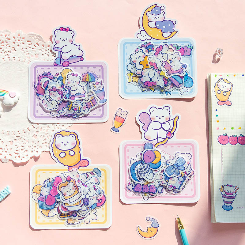 40Pcs Kawaii Bear Cartoon Stickers Cute Decor Stationery Stickers Paper Adhesive Sticker For Kids Scrapbooking Diary Supplies