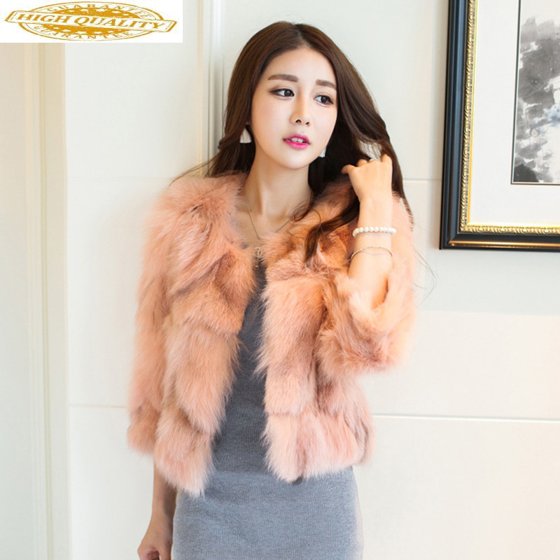 Short Real Fox Fur Coat Women Clothes 2020 Fall Winter Luxury Jacket Korean Fur Coats Pink Womens Clothing KJ1048