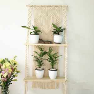 Image 4 - Macrame Hanging Planter Basket Wall handmade plant hanger pot indoor purl edging and wood bead  Party Wedding Home Decoration