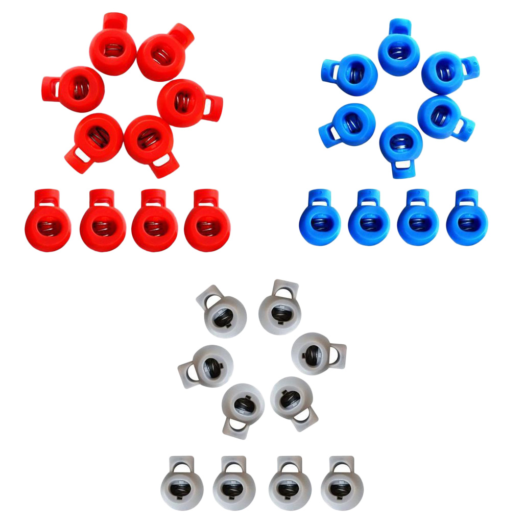 30Pcs Plastic Shock Cord Rope Toggle End Lock Stopper Ball Buckles 3 Color