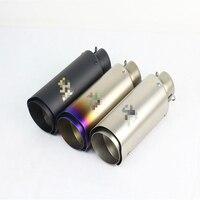 51mm 60mm Universal Motorcycle Exhaust Laser Muffler Stainless Steel For YAMAHA HONDA KAWASAKI ER6N R1 R3 R6 MT07