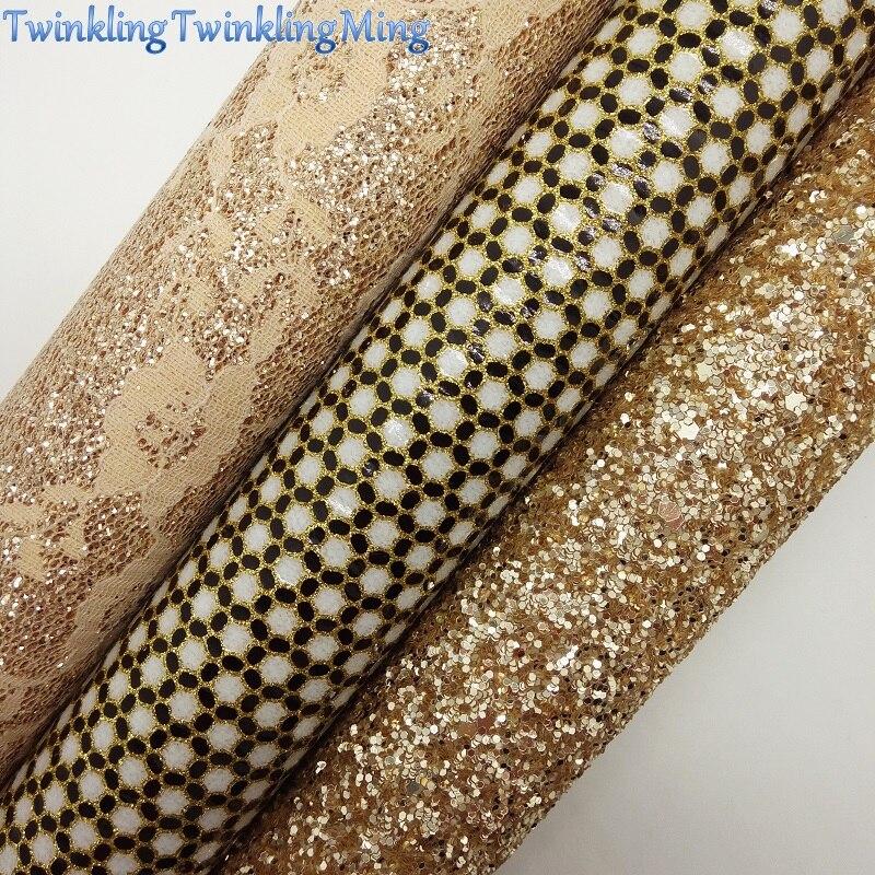 Ткань с золотыми блестками, кружевная блестящая кожа, листы из синтетической кожи для банта A4 21x29 см мерцание Ming XM830