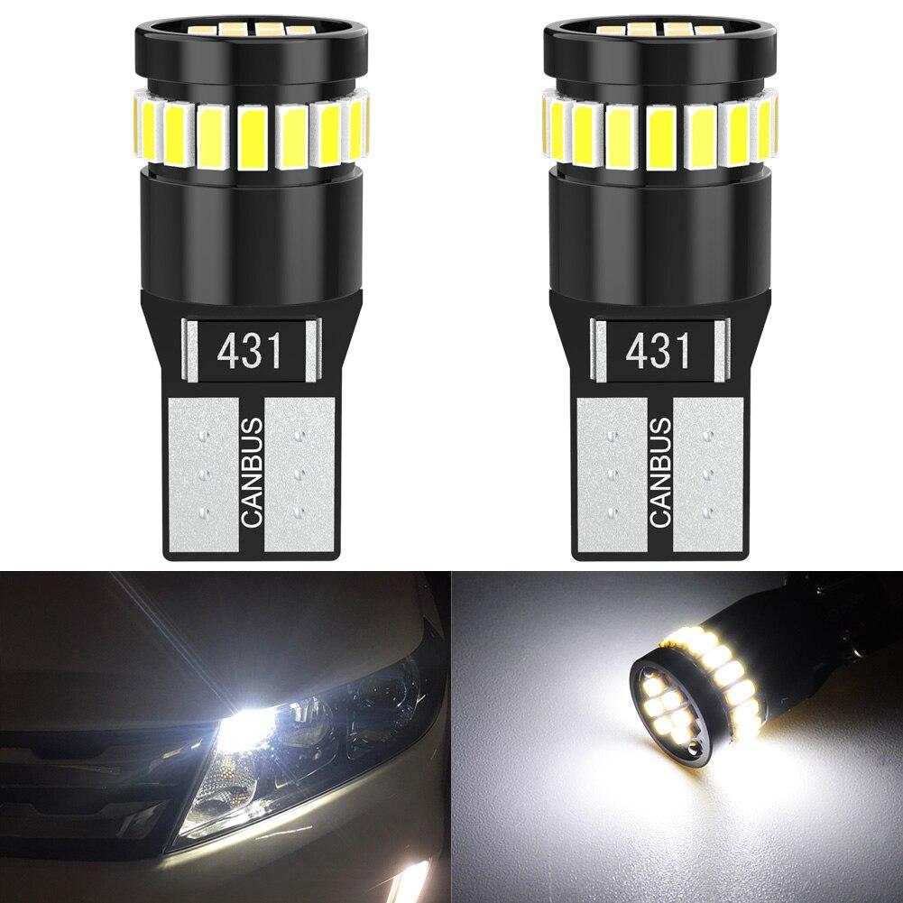 2x T10 LED Canbus W5W 194 168 lámpara Auto No Error Luz de aparcamiento de coche de cúpula lectura Interior lámpara del tronco rojo blanco naranja