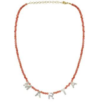 women natural stone beaded necklacea variety of color options adjustable choker handmade shell letter pendant custom name collie natural black custom name lava