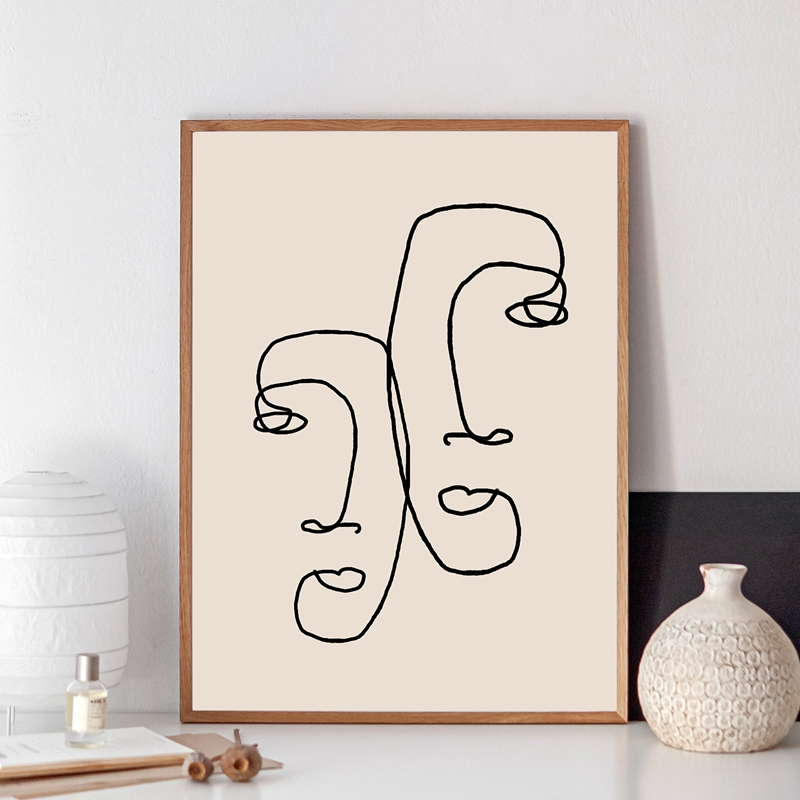 Abstract One Line Couple Face Drawing Print Minimalist Romantic Couples Gifts Art Canvas Painting Bedroom Home Wall Art Decor(China)
