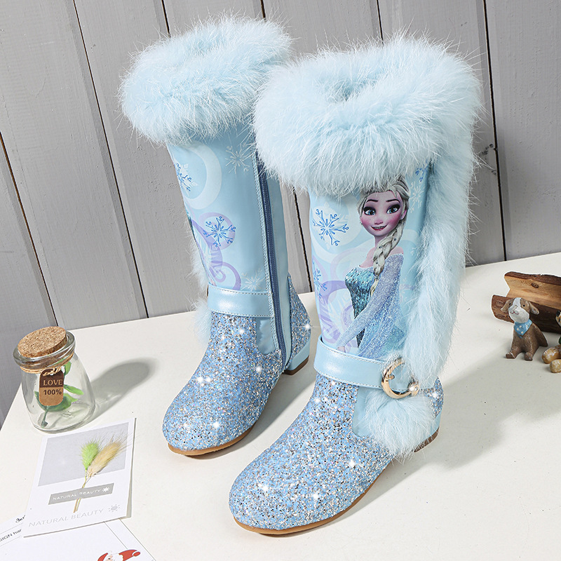 4-13 Years Old Children 2019 Winter Disney Botas Warm Long Boots Girls Low Heel Sequins Snow Boots Frozen Boots 2#11/03E50