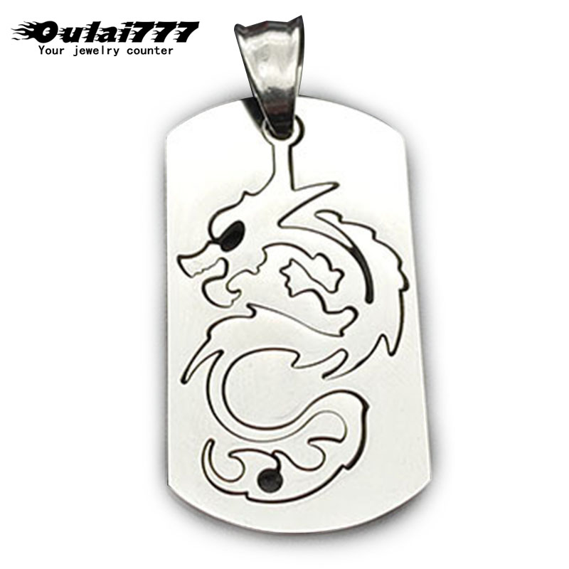 oulai777 necklace Tag Nameplate pendants wholesale stainless steel Square card chain male accessories Silver