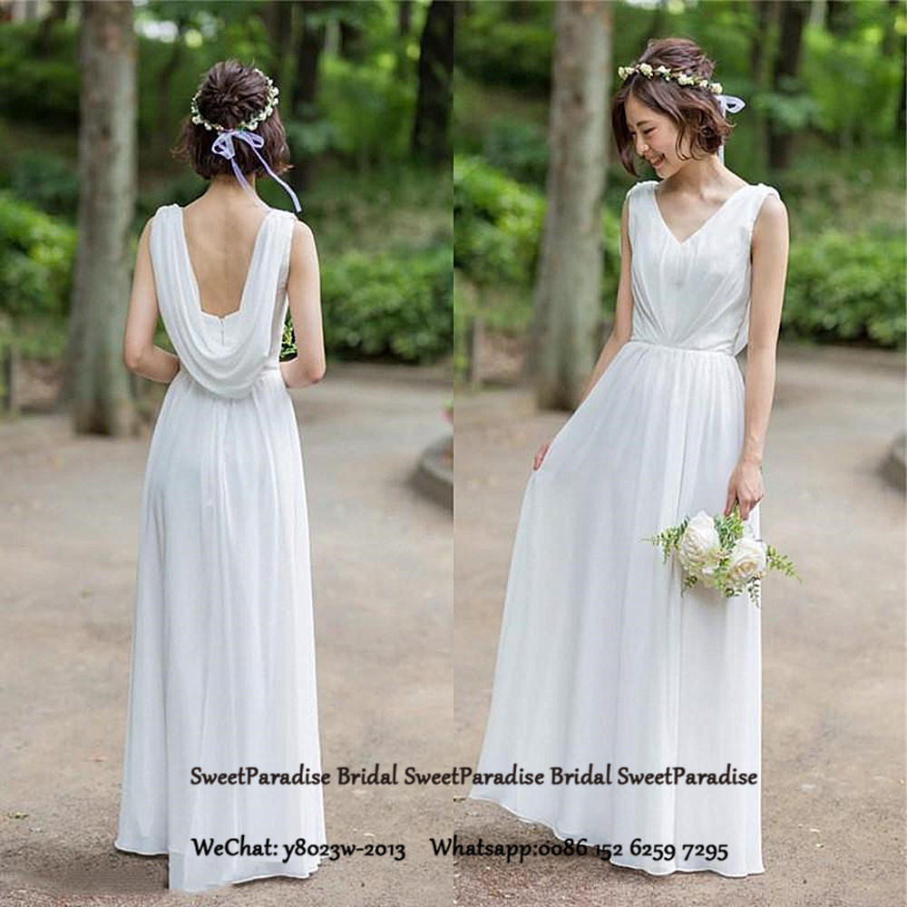Bohemia Bridesmaid Dresses Long White Chiffon For Women V Neck A Line Wedding Guest Dress Party Gown