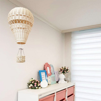 Handmade Kids Room Decoration Nordic Style Children Bedroom Kindergarten Rattan Weaven Hot Air Balloon Craft Wall Hanging Decor
