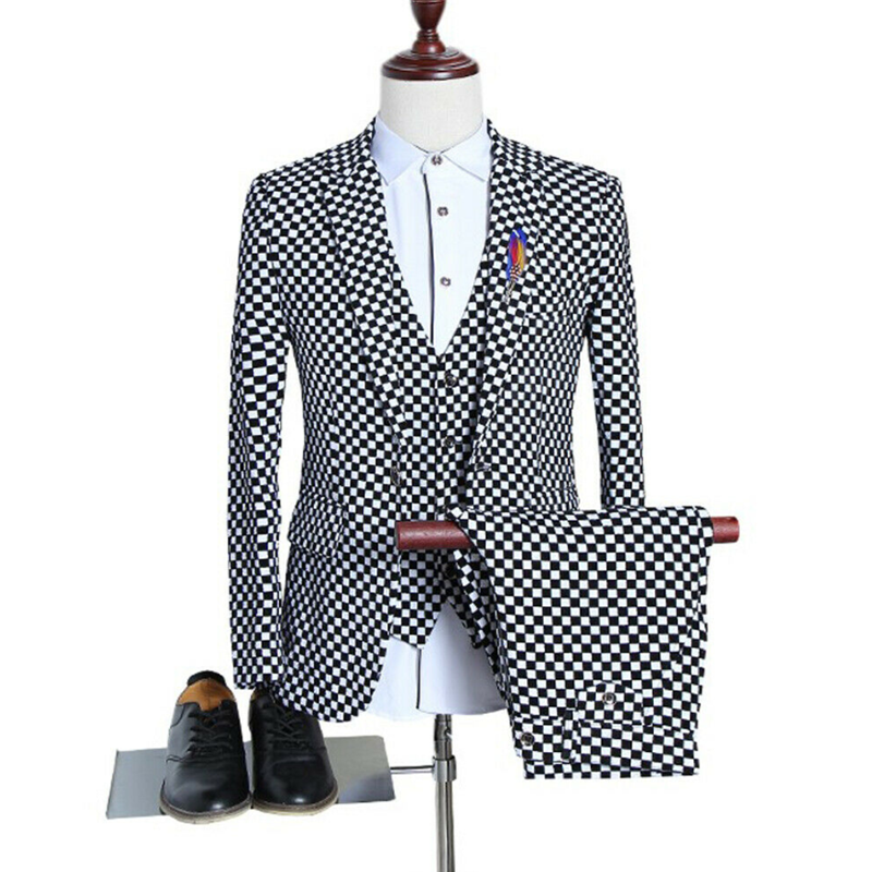 2020 Black&White Plaid Skinny Three Piece Men's Suits Polyester+Cotton One Button Wedding Groom Formal Tuxedos Size 36 38 40+
