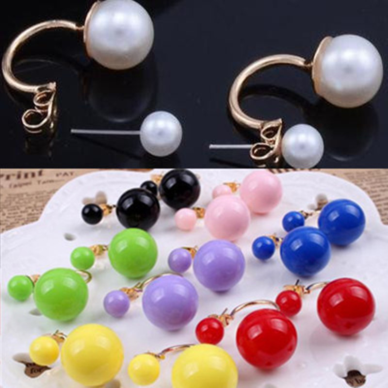 Natural 2019 Pearl Earrings Red Double Womens Jewelry Double-Pearl Earrings, Wholesale Wedding Jewel