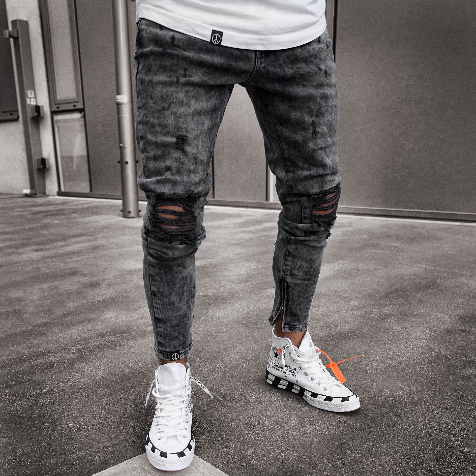 Men Jeans Ripped Skinny Distressed Destroyed Slim Fit Stretch Biker Jeans Homme Pants With Holes