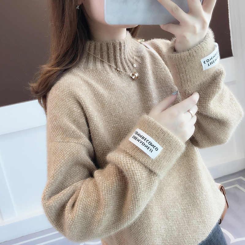 Surmiitro Nerz Kaschmir Gestrickte Pullover Frauen Rollkragen Für Herbst Winter 2019 Langarm Jumper Koreanische Damen Pullover Weibliche