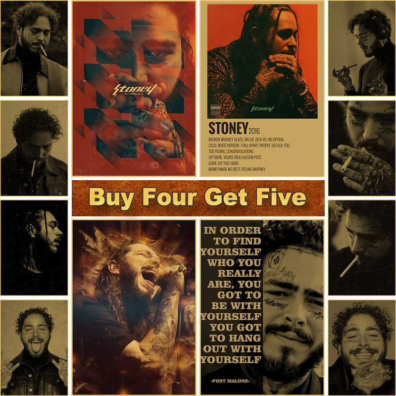 post malone hip hop rap music star retro posters kraft paper vintage poster and prints home decoration bar hotel wall art decor
