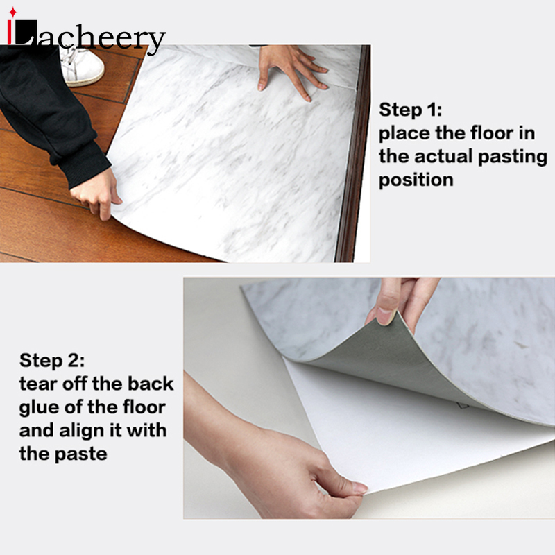Waterproof Floor Stickers Self Adhesive Marble Wallpapers Kitchen Wall Sticker House Renovation DIY Wall Ground Paster Decor 5