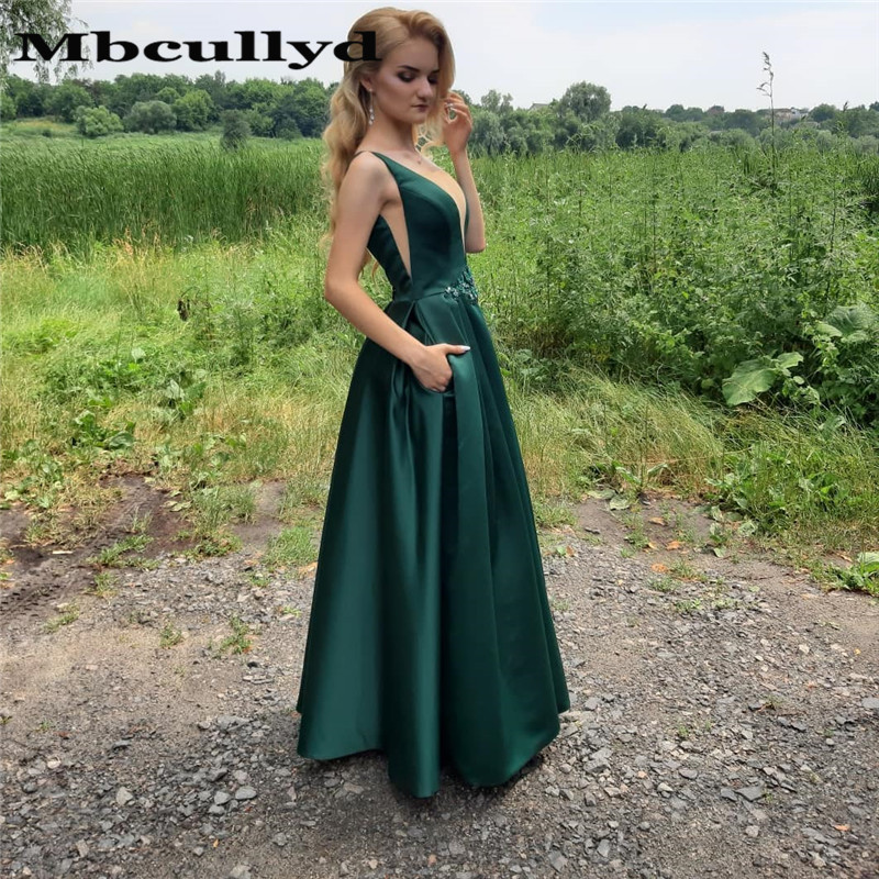 Mbcullyd Dark Green V Neck   Prom     Dresses   2019 With Appliques Lace Formal Evening   Dress   For Women Long vestidos de fiesta de noche