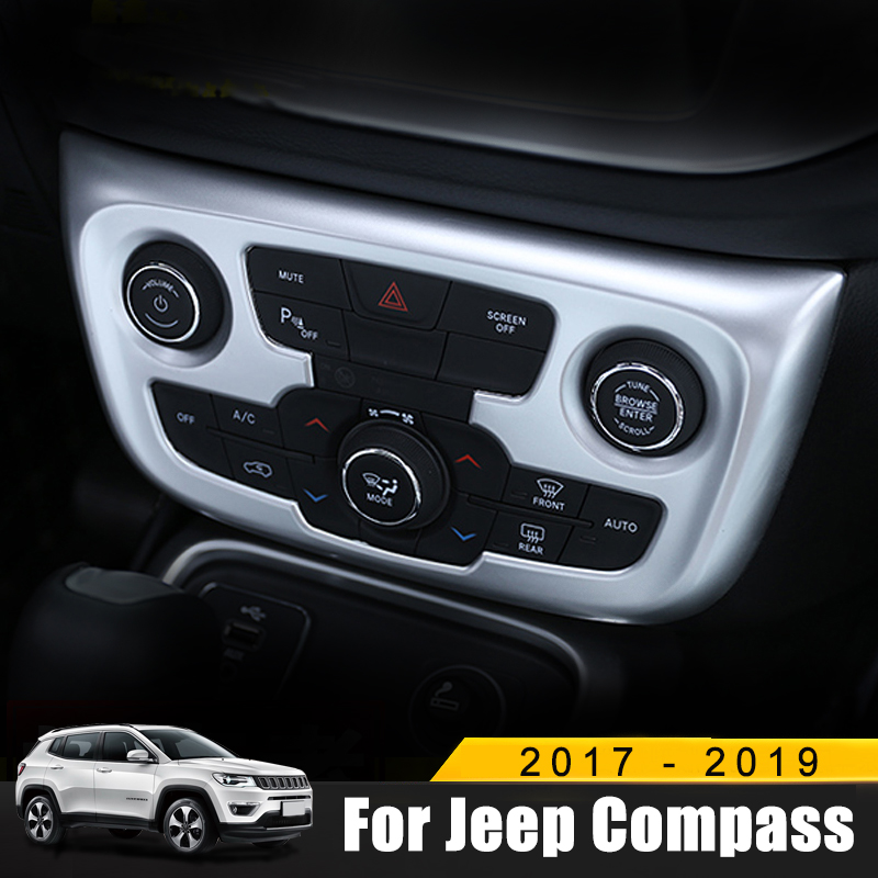 For <font><b>Jeep</b></font> <font><b>Compass</b></font> 2017 2018 <font><b>2019</b></font> ABS Chrome Interior <font><b>Accessories</b></font> Car Styling Air Conditioning Adjustment Switch Cover Trim image