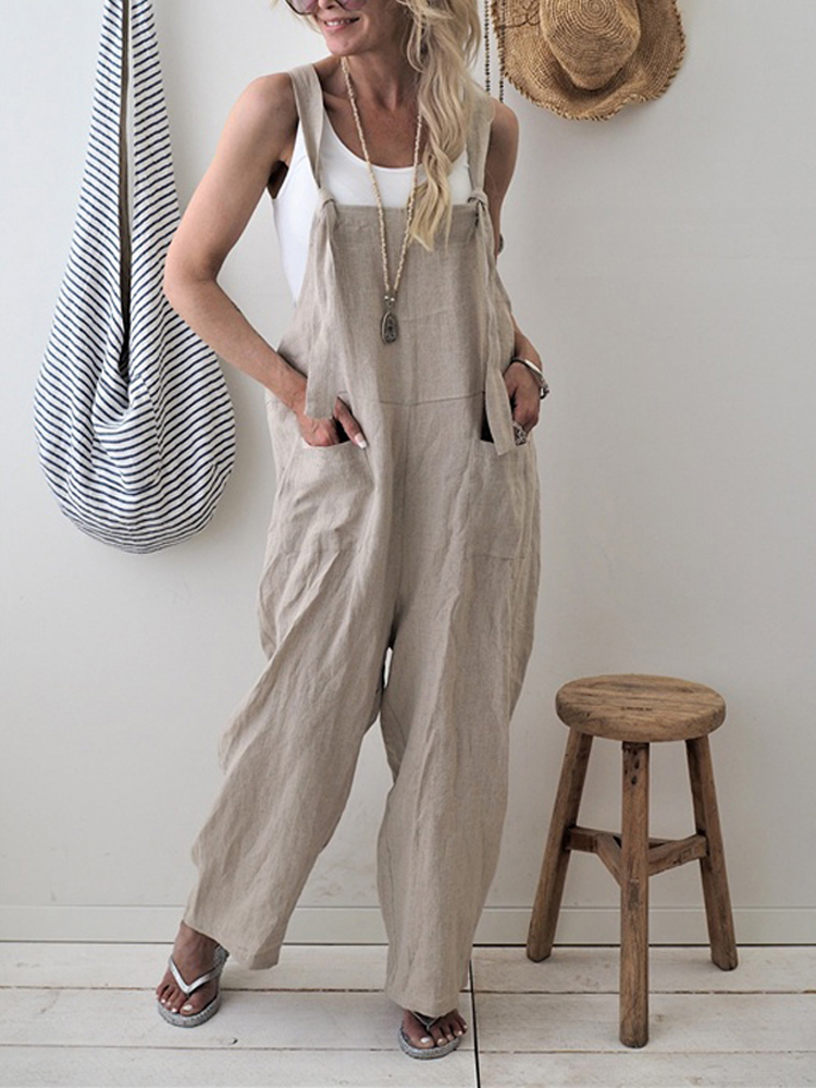 Spring Summer Women Casual Loose Overalls Cotton Linen Solid Pockets Rompers Jumpsuit Womens Wide Leg Cropped Pants