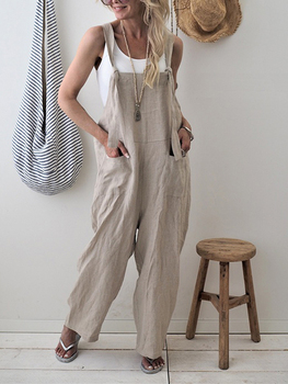 women sexy spaghetti strap sleeveless wide leg jumpsuit summer elegant solid casual rompers pockets playsuits loose overalls Spring Summer Women Casual Loose Overalls Cotton Linen Solid Pockets Rompers Jumpsuit Womens Wide Leg Cropped Pants