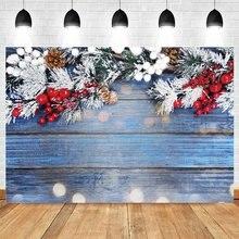 Yeele зимний Снежный Рождественский Фотофон с голубыми деревянными